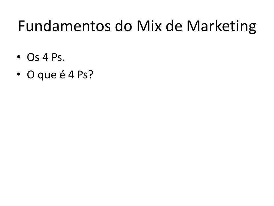 Fundamentos do Mix de Marketing Os 4 Ps. O que é 4 Ps?