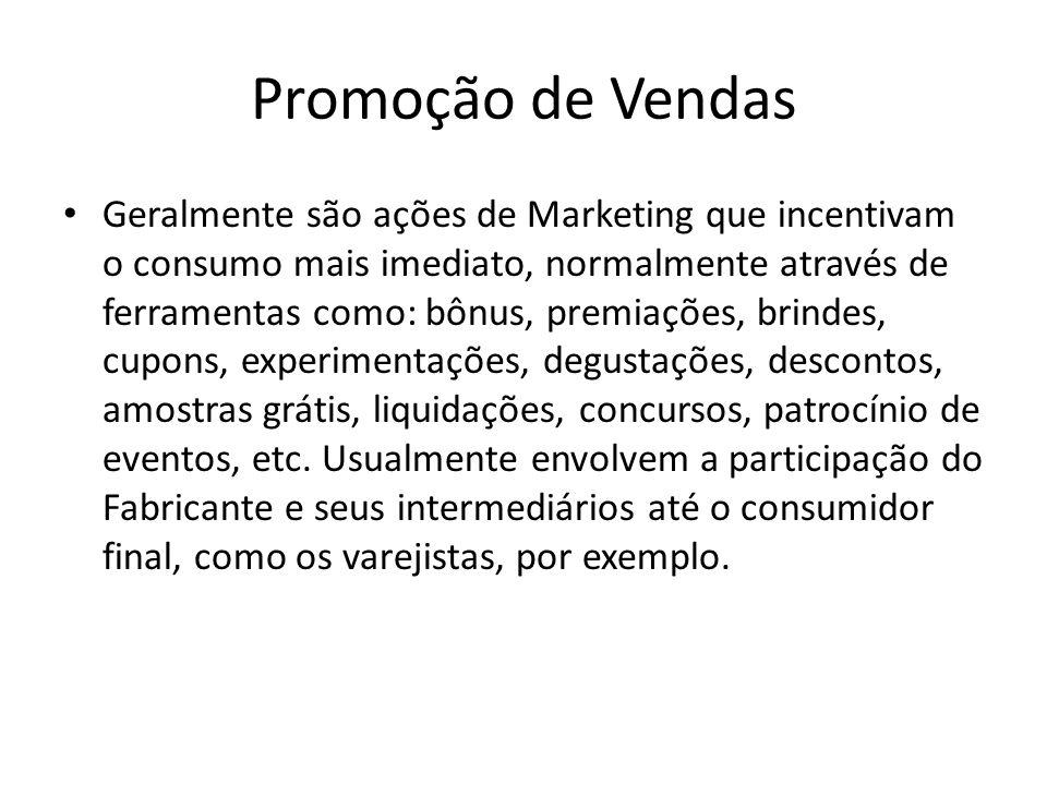 Promoção de Vendas Geralmente são ações de Marketing que incentivam o consumo mais imediato, normalmente através de ferramentas como: bônus, premiaçõe