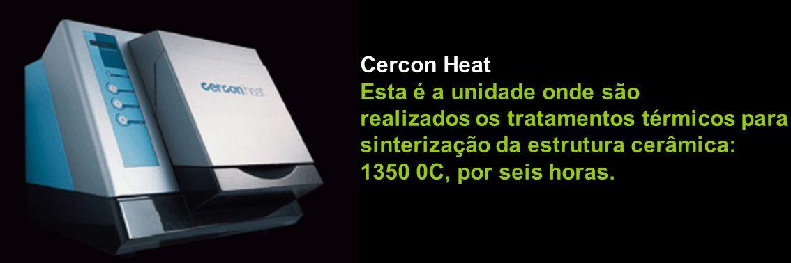 Cercon Heat Esta é a unidade onde são realizados os tratamentos térmicos para sinterização da estrutura cerâmica: 1350 0C, por seis horas.