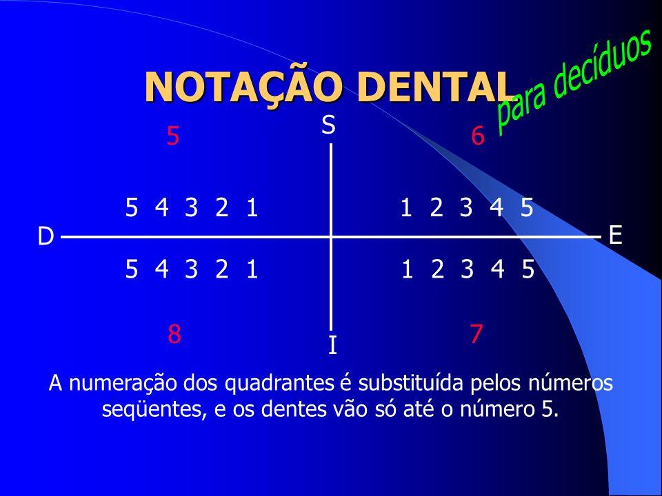 1 2 3 4 5 1 2 3 4 5 5 4 3 2 1 5 4 3 2 1 A numeração dos quadrantes é substituída pelos números seqüentes, e os dentes vão só até o número 5. S I D E 5