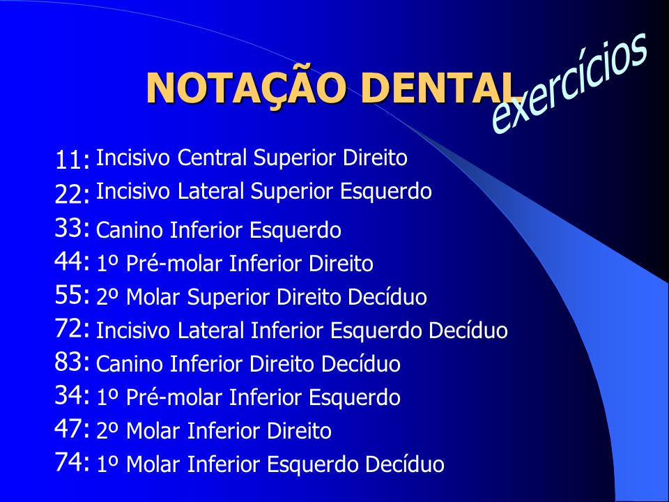 NOTAÇÃO DENTAL 11: 22: 33: 44: 55: 72: 83: 34: 47: 74: Incisivo Central Superior Direito Incisivo Lateral Superior Esquerdo Canino Inferior Esquerdo 1