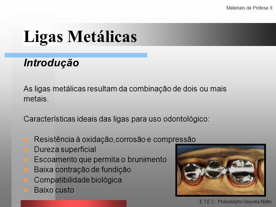 Ligas Metálicas Introdução As ligas metálicas resultam da combinação de dois ou mais metais. Características ideais das ligas para uso odontológico: R