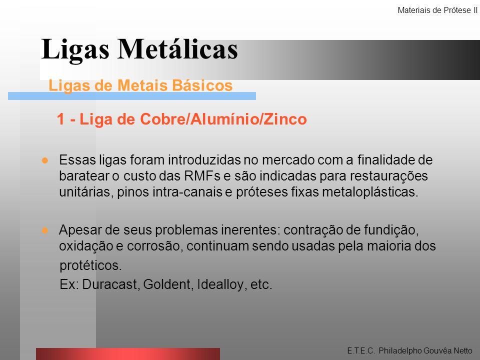 1 - Liga de Cobre/Alumínio/Zinco Essas ligas foram introduzidas no mercado com a finalidade de baratear o custo das RMFs e são indicadas para restaura