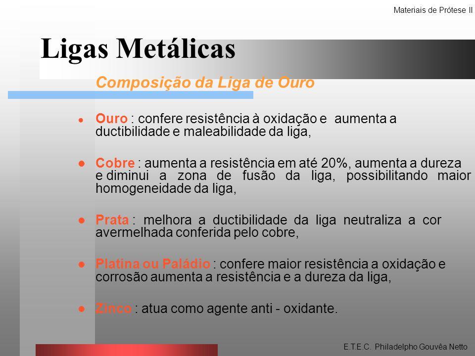 Tipos de ligas de ouro usadas na Odontologia Tipo I : Liga mole - são fracas e moles sendo úteis em áreas não sujeitas a tensões oclusais, não sendo muito usadas.