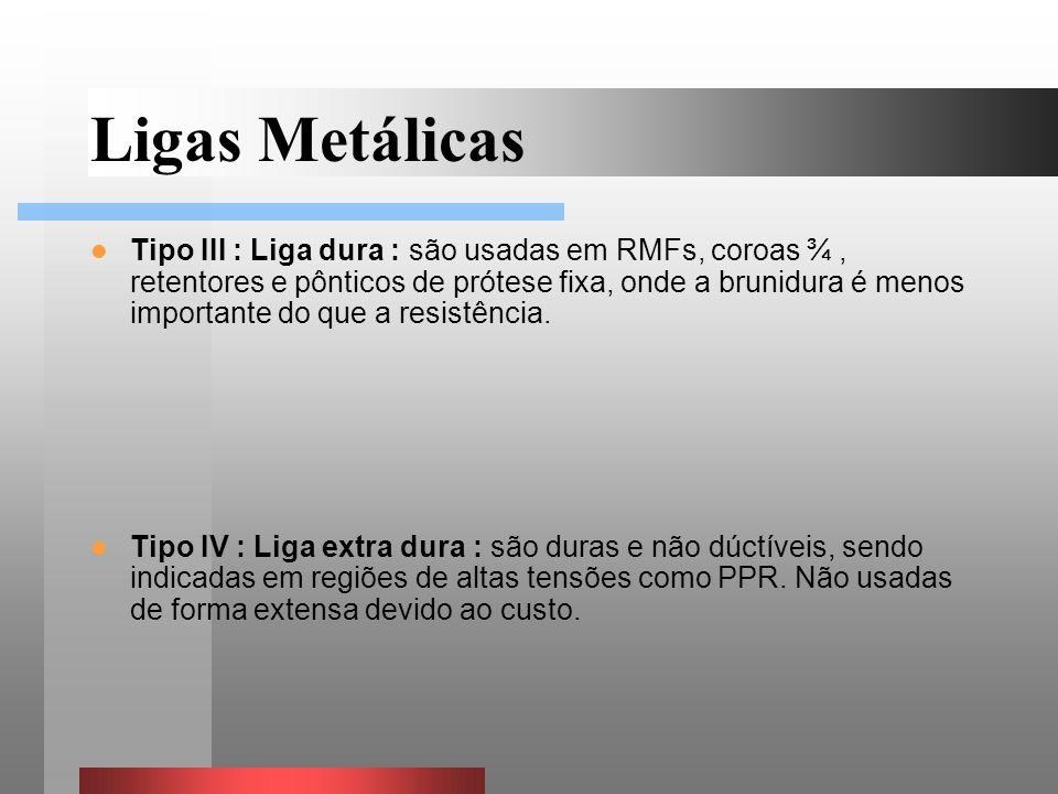 Tipo III : Liga dura : são usadas em RMFs, coroas ¾, retentores e pônticos de prótese fixa, onde a brunidura é menos importante do que a resistência.