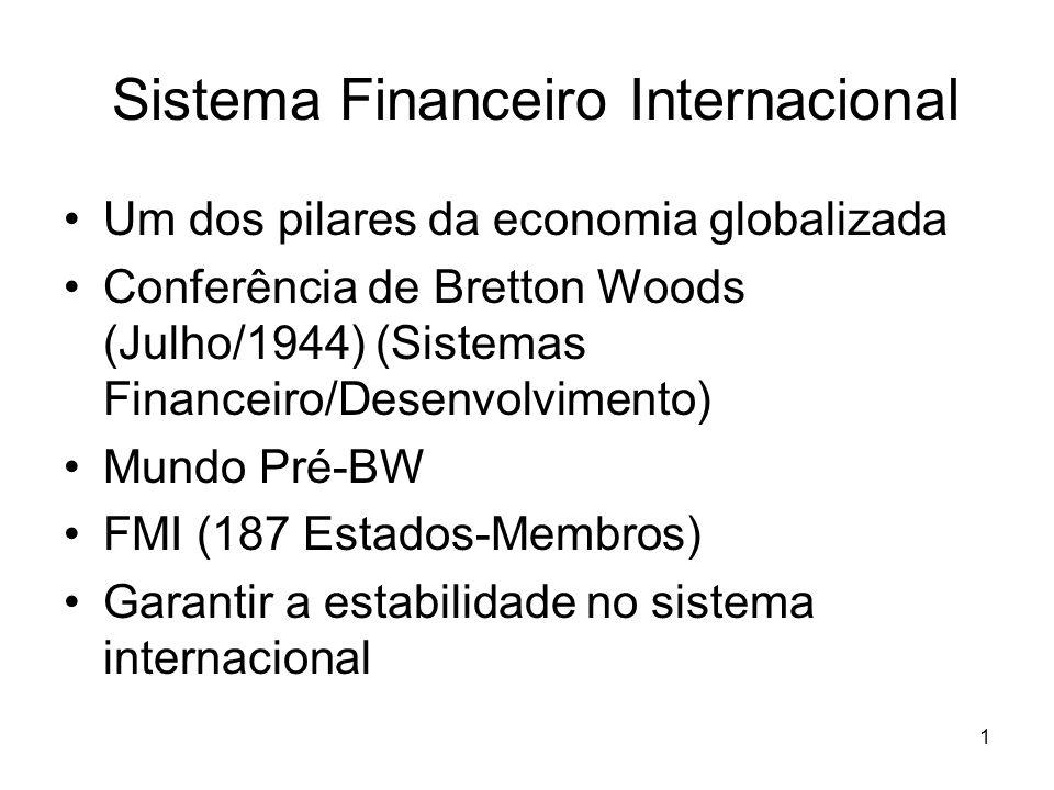 1 Sistema Financeiro Internacional Um dos pilares da economia globalizada Conferência de Bretton Woods (Julho/1944) (Sistemas Financeiro/Desenvolvimen