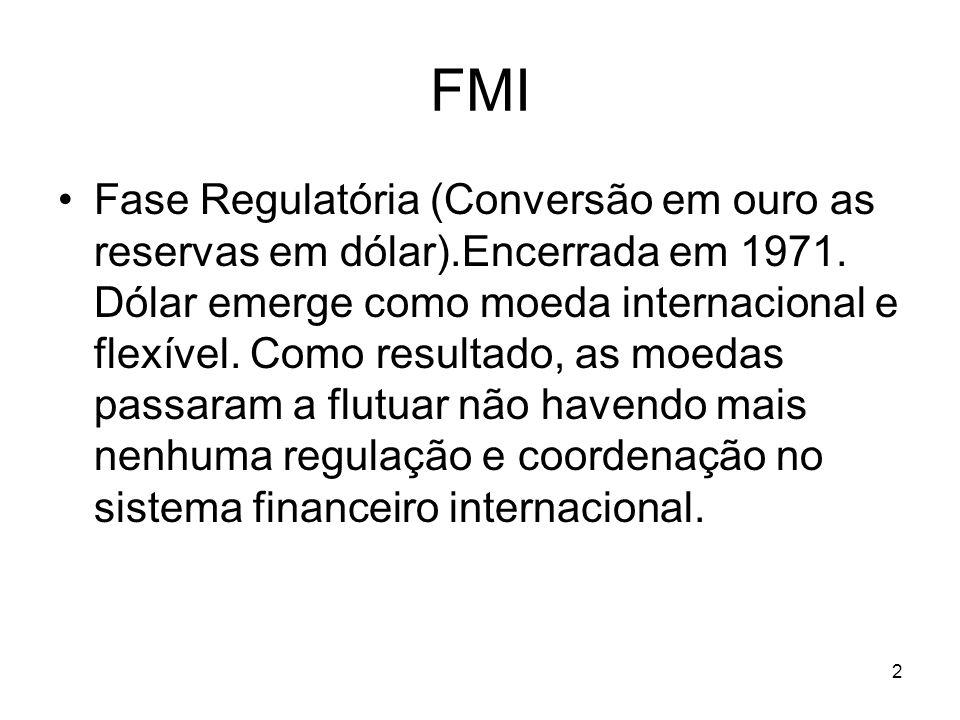 2 FMI Fase Regulatória (Conversão em ouro as reservas em dólar).Encerrada em 1971. Dólar emerge como moeda internacional e flexível. Como resultado, a