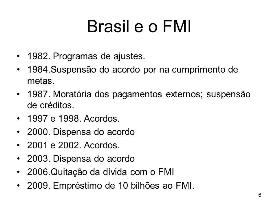 Brasil e o FMI 1982. Programas de ajustes. 1984.Suspensão do acordo por na cumprimento de metas. 1987. Moratória dos pagamentos externos; suspensão de