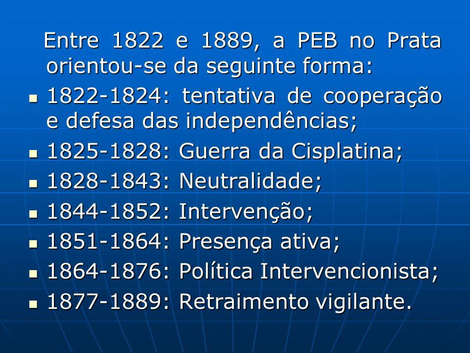 Entre 1822 e 1889, a PEB no Prata orientou-se da seguinte forma: Entre 1822 e 1889, a PEB no Prata orientou-se da seguinte forma: 1822-1824: tentativa