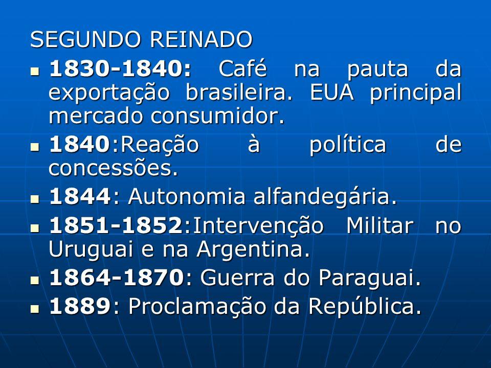 SEGUNDO REINADO 1830-1840: Café na pauta da exportação brasileira. EUA principal mercado consumidor. 1830-1840: Café na pauta da exportação brasileira