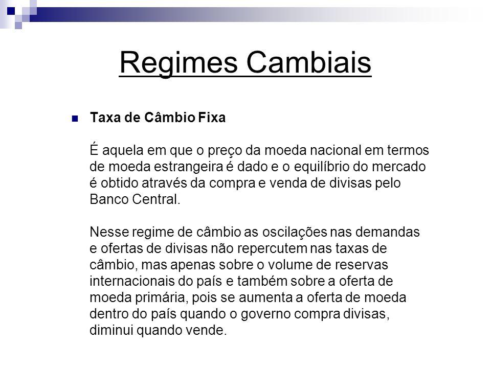 Regimes Cambiais Taxa de Câmbio Flutuante É aquela em que o preço da moeda nacional em termos de moeda estrangeira oscila livremente para garantir o equilíbrio entre oferta e demanda de divisas.
