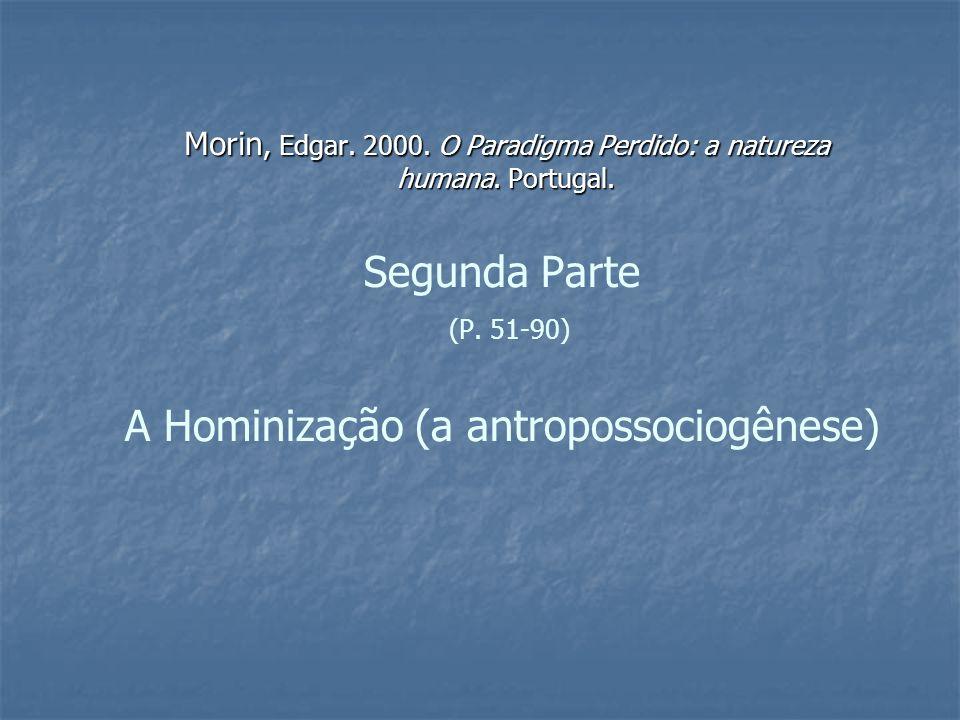 1a) Hominização = (...) morfogênese complexa e multidimensional resultante de interferências genéticas, ecológicas, cerebrais, sociais e culturais.