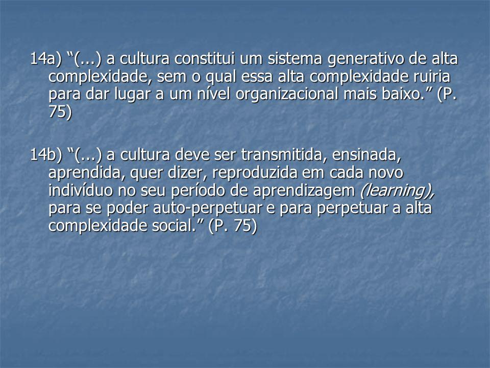 14a) (...) a cultura constitui um sistema generativo de alta complexidade, sem o qual essa alta complexidade ruiria para dar lugar a um nível organiza