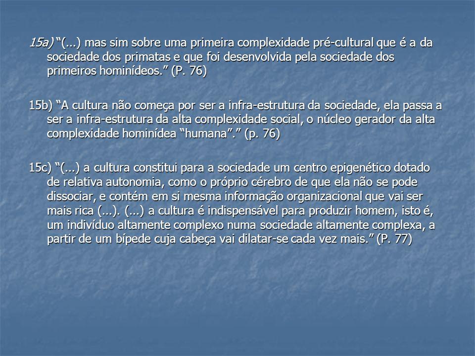15a) (...) mas sim sobre uma primeira complexidade pré-cultural que é a da sociedade dos primatas e que foi desenvolvida pela sociedade dos primeiros