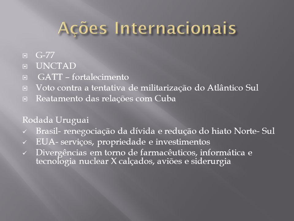 G-77 UNCTAD GATT – fortalecimento Voto contra a tentativa de militarização do Atlântico Sul Reatamento das relações com Cuba Rodada Uruguai Brasil- re