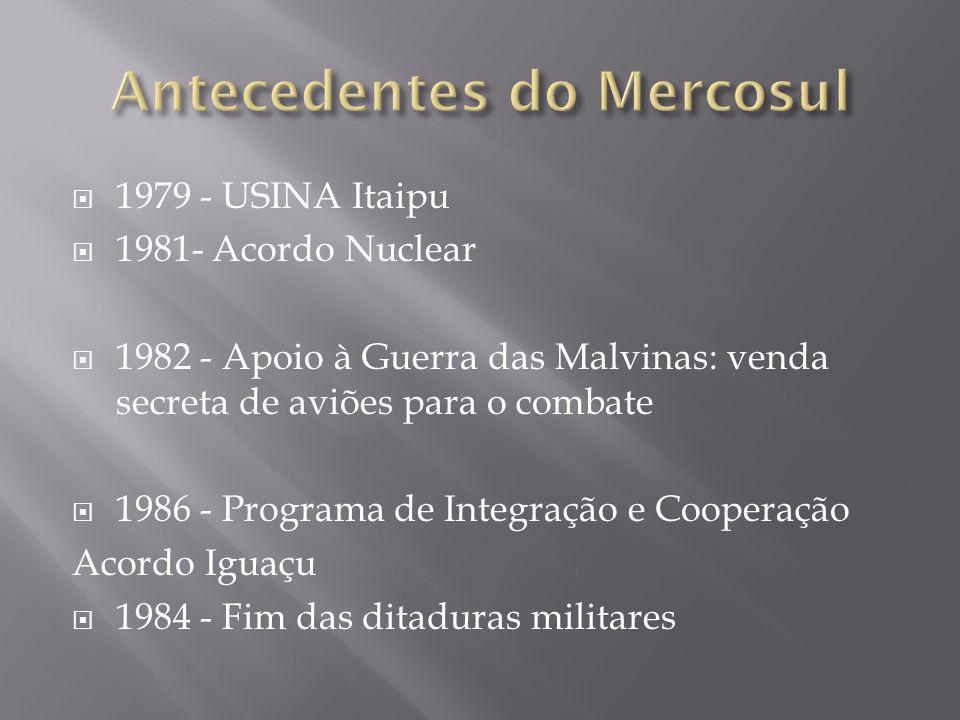 1979 - USINA Itaipu 1981- Acordo Nuclear 1982 - Apoio à Guerra das Malvinas: venda secreta de aviões para o combate 1986 - Programa de Integração e Co