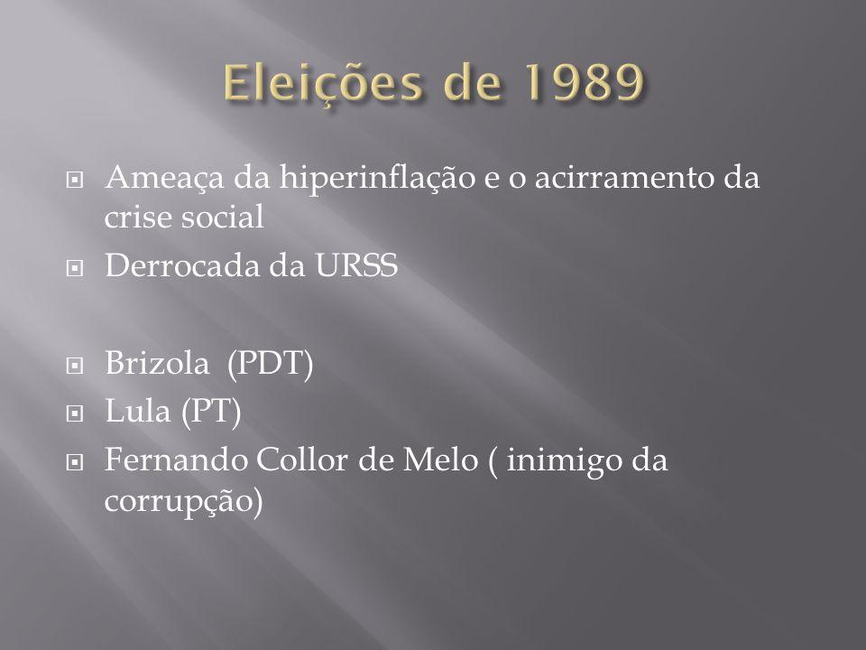 Ameaça da hiperinflação e o acirramento da crise social Derrocada da URSS Brizola (PDT) Lula (PT) Fernando Collor de Melo ( inimigo da corrupção)