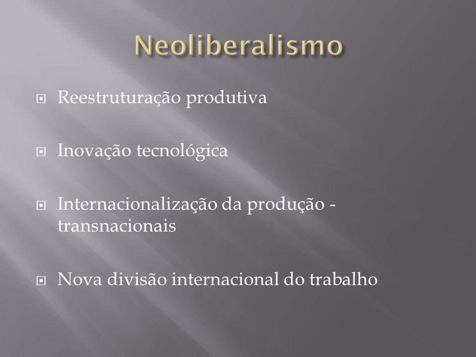 Reestruturação produtiva Inovação tecnológica Internacionalização da produção - transnacionais Nova divisão internacional do trabalho