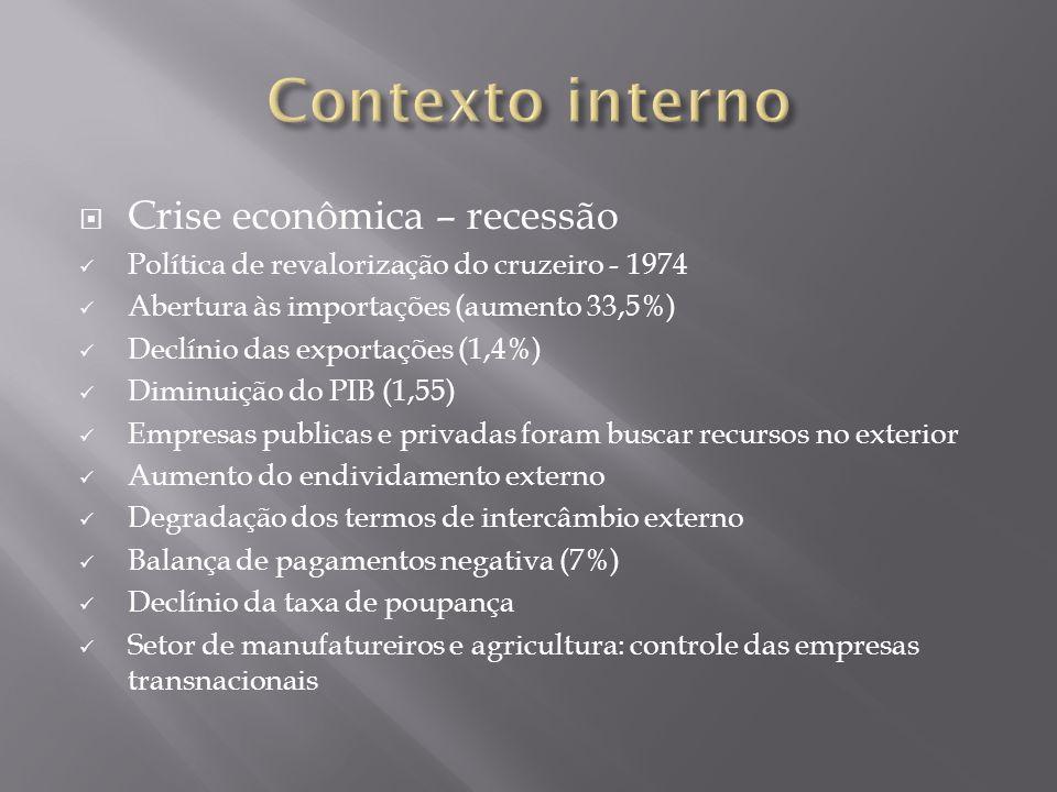 Crise econômica – recessão Política de revalorização do cruzeiro - 1974 Abertura às importações (aumento 33,5%) Declínio das exportações (1,4%) Diminu