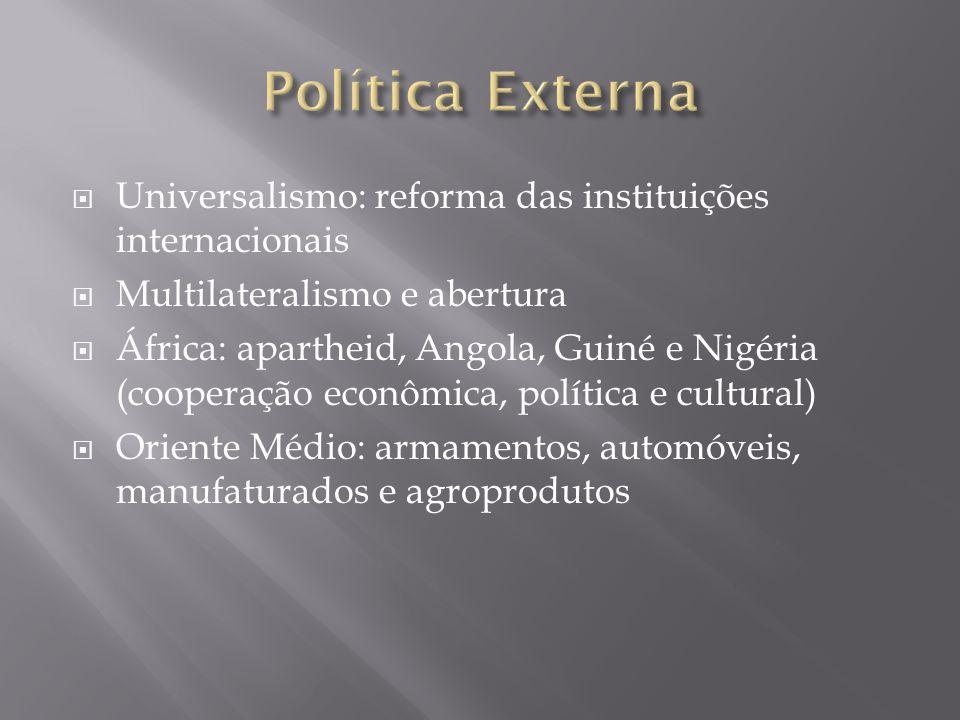 Universalismo: reforma das instituições internacionais Multilateralismo e abertura África: apartheid, Angola, Guiné e Nigéria (cooperação econômica, p