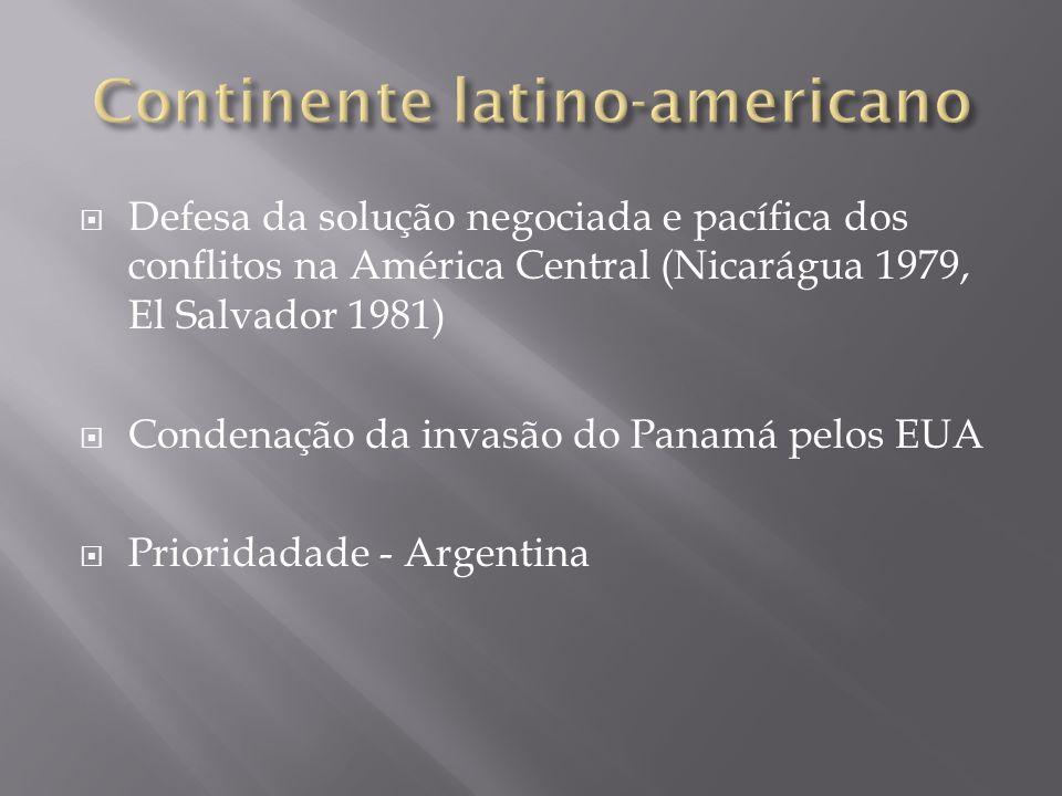 Defesa da solução negociada e pacífica dos conflitos na América Central (Nicarágua 1979, El Salvador 1981) Condenação da invasão do Panamá pelos EUA P