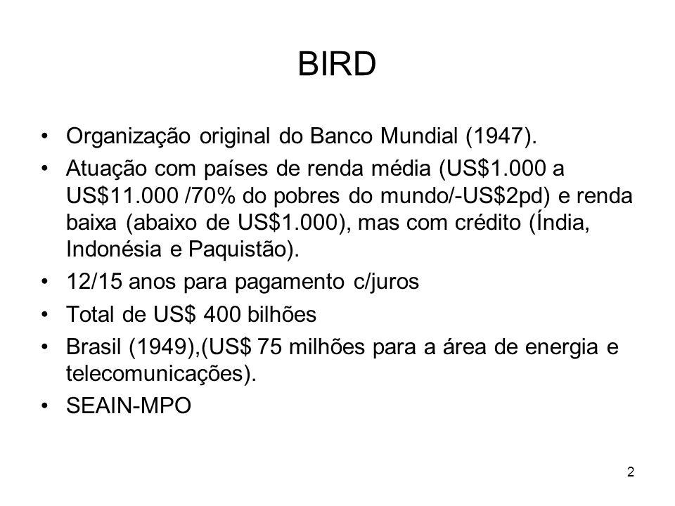 BIRD Organização original do Banco Mundial (1947). Atuação com países de renda média (US$1.000 a US$11.000 /70% do pobres do mundo/-US$2pd) e renda ba