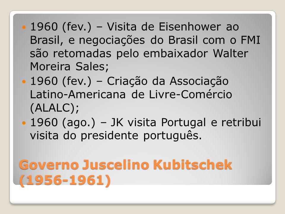 Governo Juscelino Kubitschek (1956-1961) 1960 (fev.) – Visita de Eisenhower ao Brasil, e negociações do Brasil com o FMI são retomadas pelo embaixador
