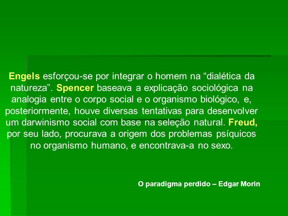 Engels esforçou-se por integrar o homem na dialética da natureza. Spencer baseava a explicação sociológica na analogia entre o corpo social e o organi