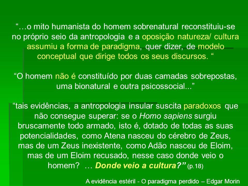 …o mito humanista do homem sobrenatural reconstituiu-se no próprio seio da antropologia e a oposição natureza/ cultura assumiu a forma de paradigma, q