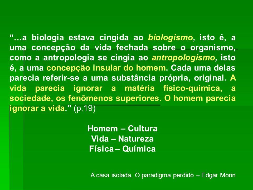 …a biologia estava cingida ao biologismo, isto é, a uma concepção da vida fechada sobre o organismo, como a antropologia se cingia ao antropologismo,