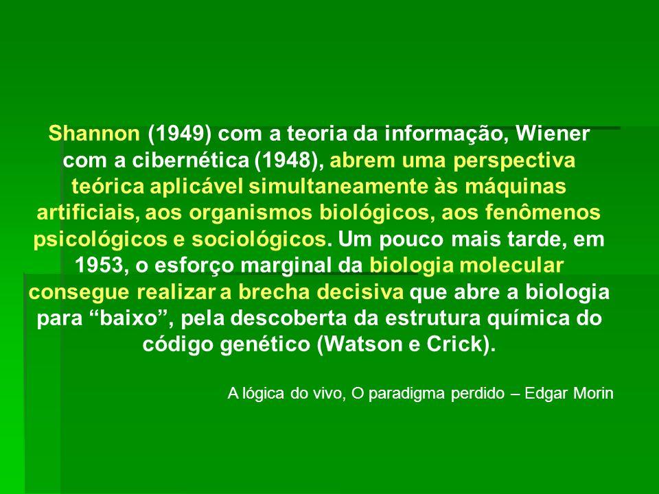 Shannon (1949) com a teoria da informação, Wiener com a cibernética (1948), abrem uma perspectiva teórica aplicável simultaneamente às máquinas artifi
