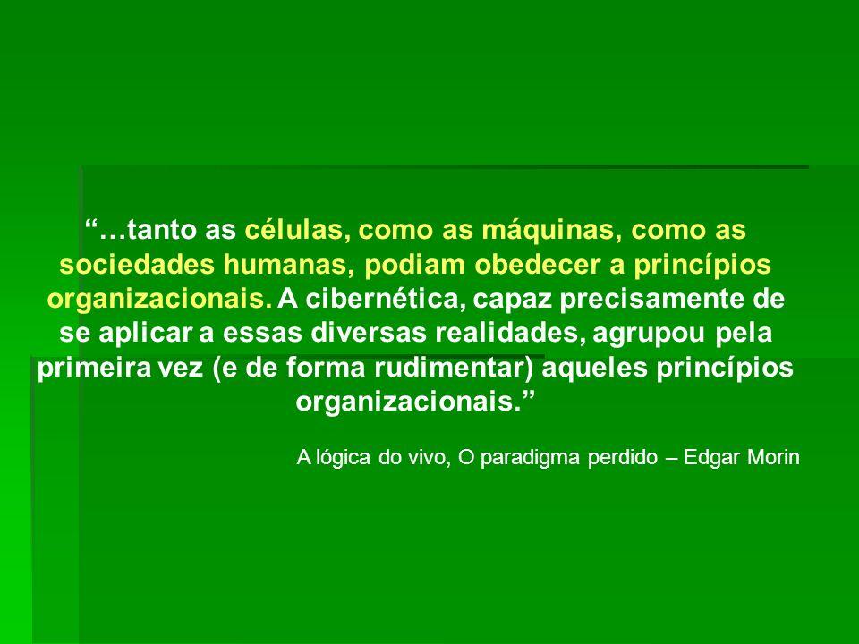 …tanto as células, como as máquinas, como as sociedades humanas, podiam obedecer a princípios organizacionais. A cibernética, capaz precisamente de se