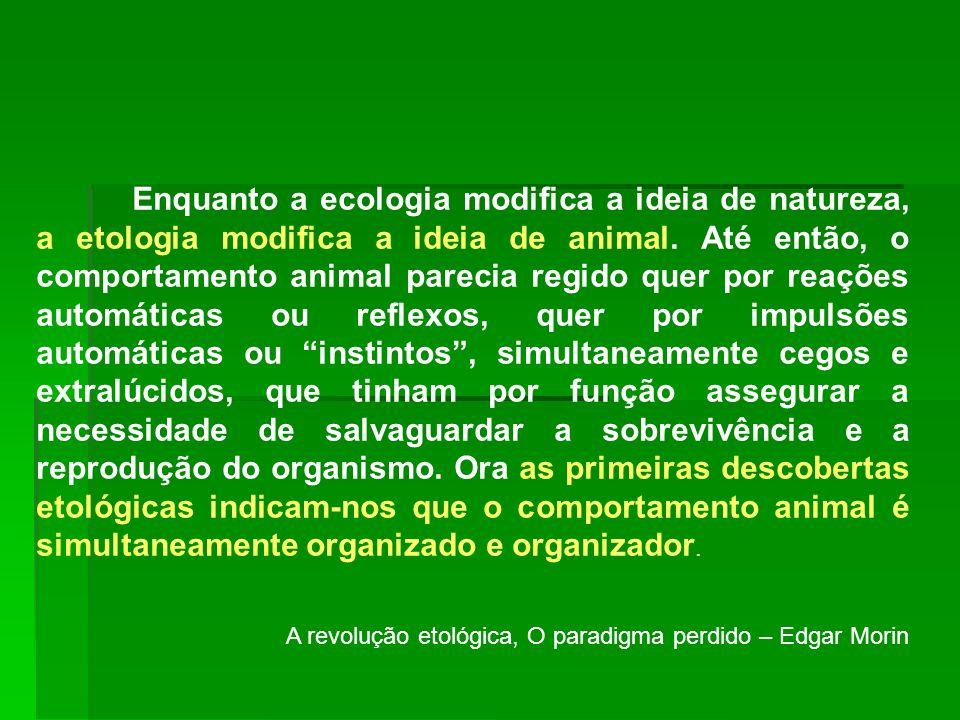Enquanto a ecologia modifica a ideia de natureza, a etologia modifica a ideia de animal. Até então, o comportamento animal parecia regido quer por rea
