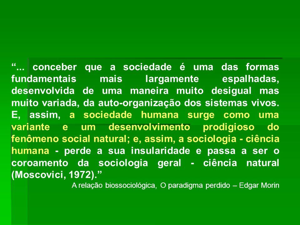 ... conceber que a sociedade é uma das formas fundamentais mais largamente espalhadas, desenvolvida de uma maneira muito desigual mas muito variada, d
