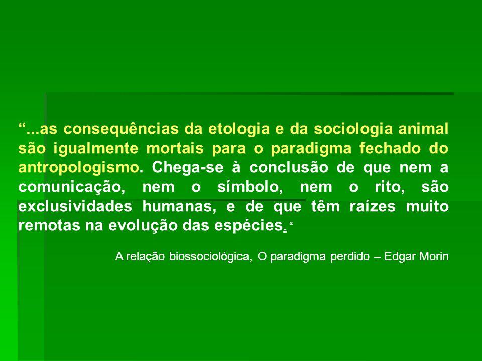...as consequências da etologia e da sociologia animal são igualmente mortais para o paradigma fechado do antropologismo. Chega-se à conclusão de que
