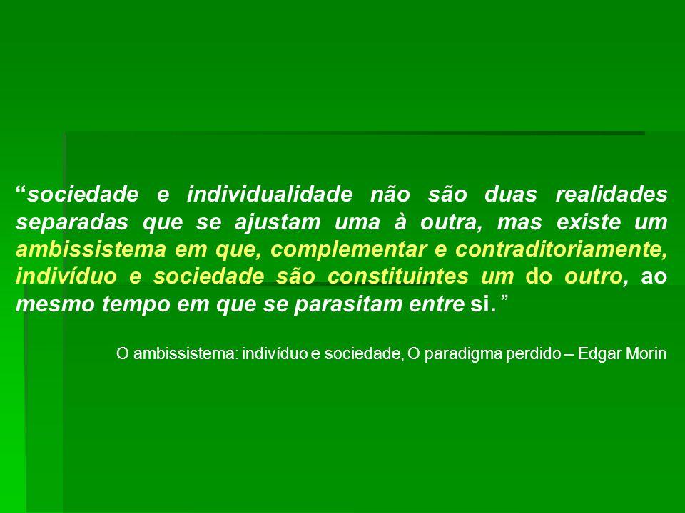 sociedade e individualidade não são duas realidades separadas que se ajustam uma à outra, mas existe um ambissistema em que, complementar e contradito