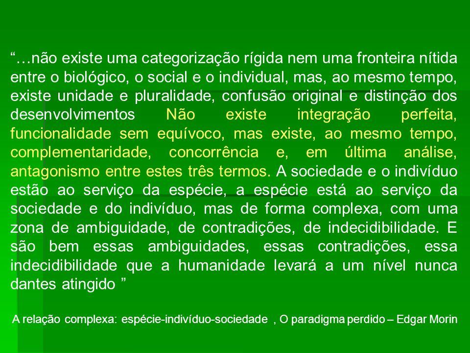 …não existe uma categorização rígida nem uma fronteira nítida entre o biológico, o social e o individual, mas, ao mesmo tempo, existe unidade e plural