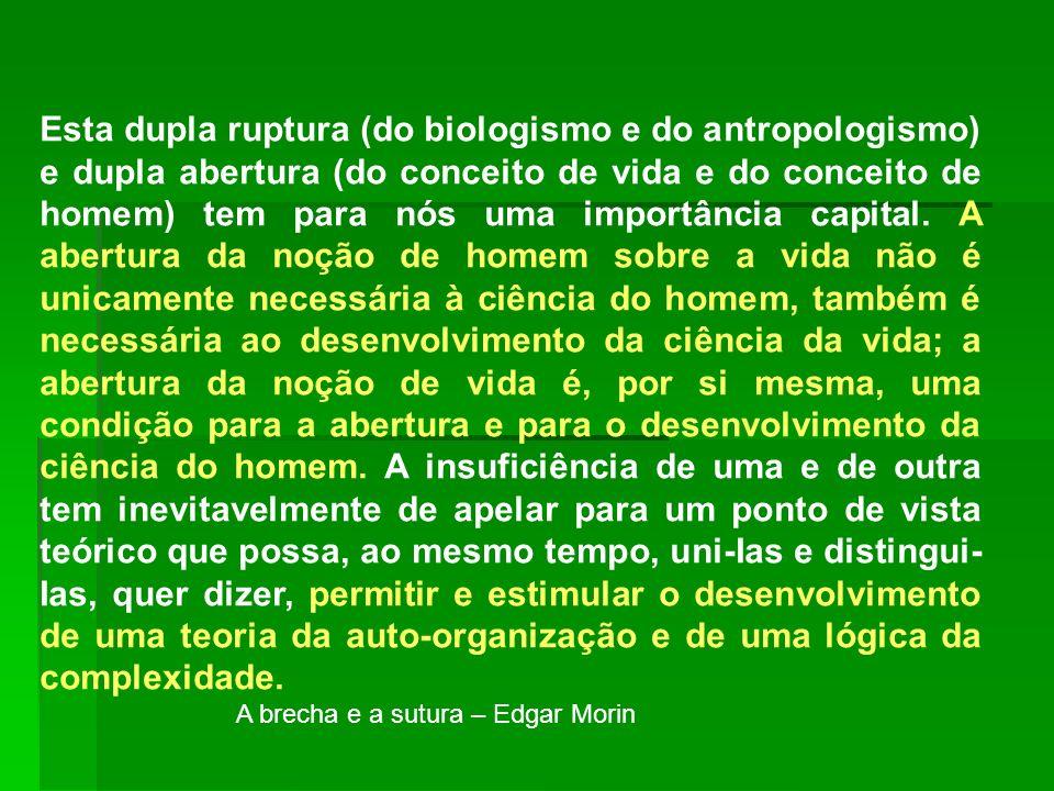 Esta dupla ruptura (do biologismo e do antropologismo) e dupla abertura (do conceito de vida e do conceito de homem) tem para nós uma importância capi