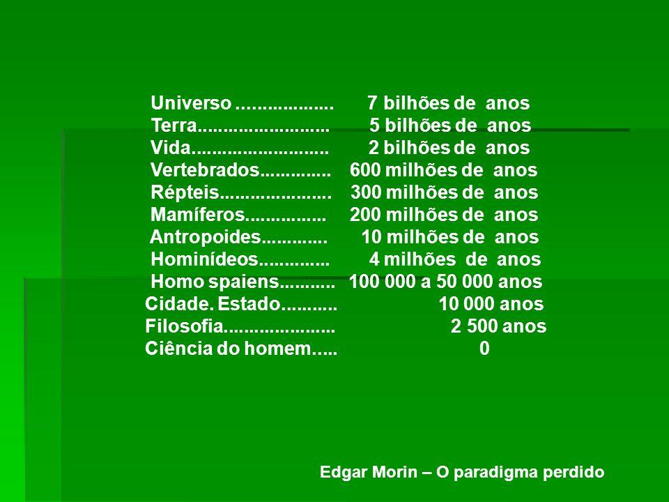 Universo................... 7 bilhões de anos Terra.......................... 5 bilhões de anos Vida........................... 2 bilhões de anos Vert
