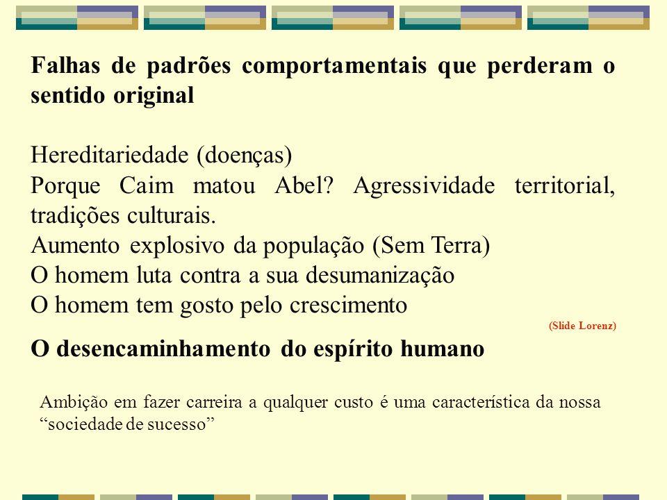 Falhas de padrões comportamentais que perderam o sentido original Hereditariedade (doenças) Porque Caim matou Abel? Agressividade territorial, tradiçõ