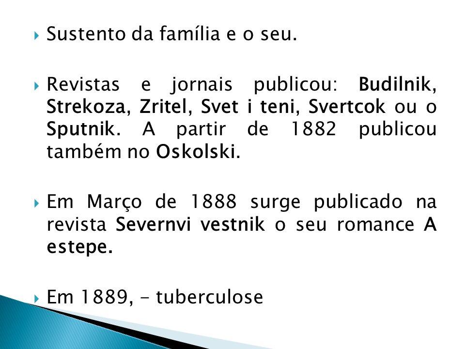 Sustento da família e o seu. Revistas e jornais publicou: Budilnik, Strekoza, Zritel, Svet i teni, Svertcok ou o Sputnik. A partir de 1882 publicou ta