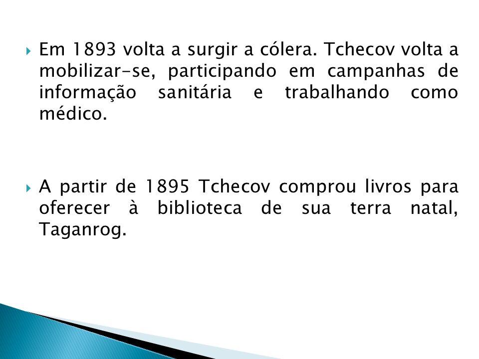 Em 1893 volta a surgir a cólera. Tchecov volta a mobilizar-se, participando em campanhas de informação sanitária e trabalhando como médico. A partir d