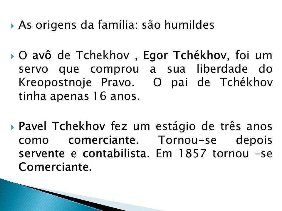 As origens da família: são humildes O avô de Tchekhov, Egor Tchékhov, foi um servo que comprou a sua liberdade do Kreopostnoje Pravo. O pai de Tchékho