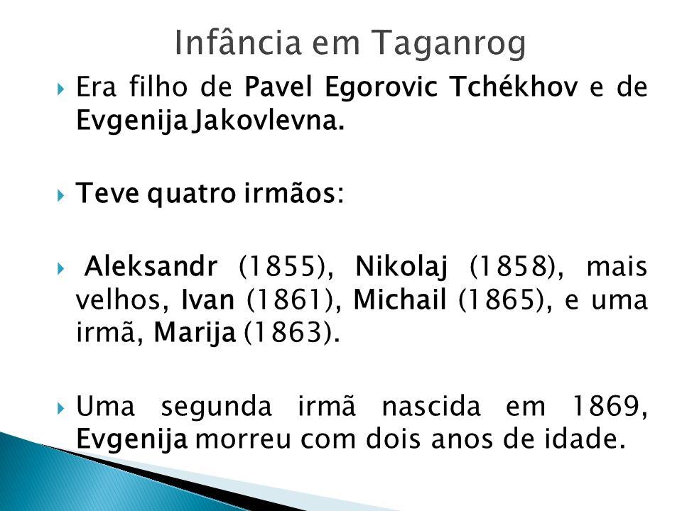 Era filho de Pavel Egorovic Tchékhov e de Evgenija Jakovlevna. Teve quatro irmãos: Aleksandr (1855), Nikolaj (1858), mais velhos, Ivan (1861), Michail