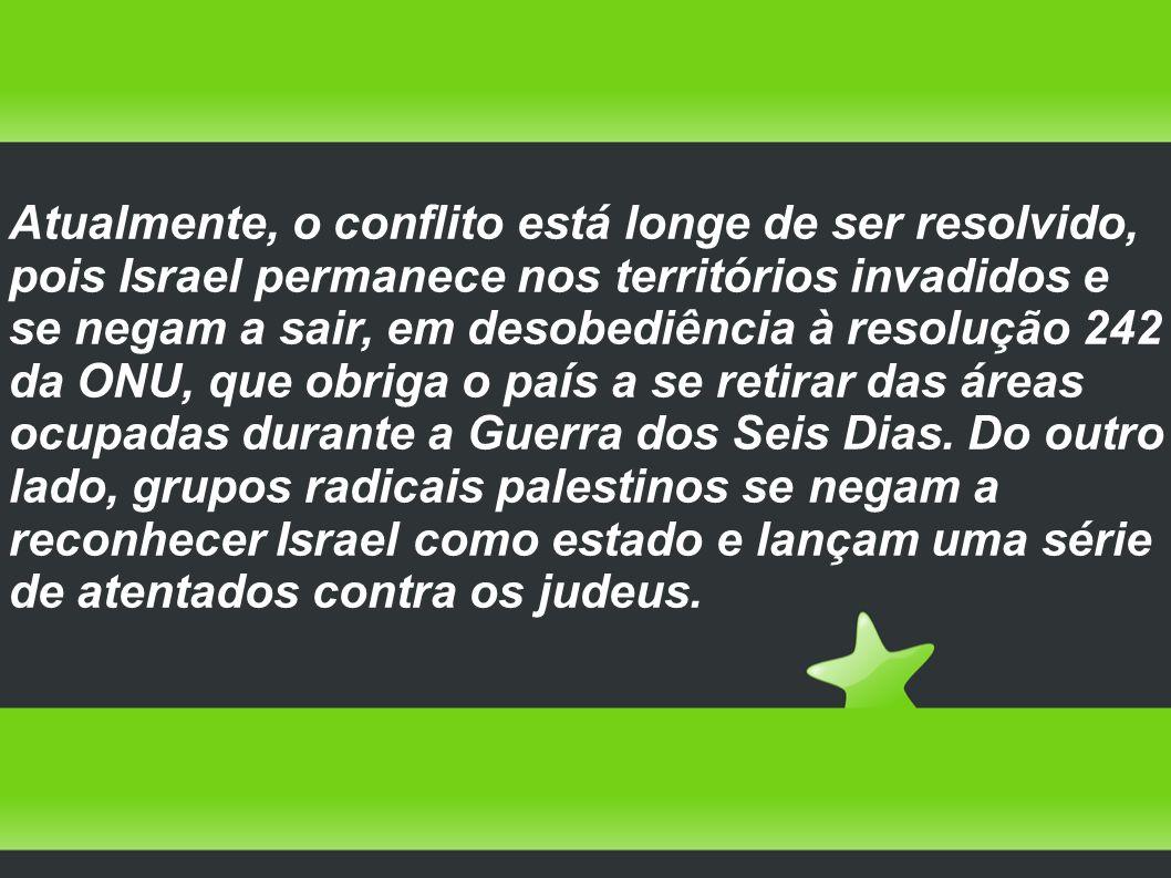 Atualmente, o conflito está longe de ser resolvido, pois Israel permanece nos territórios invadidos e se negam a sair, em desobediência à resolução 24