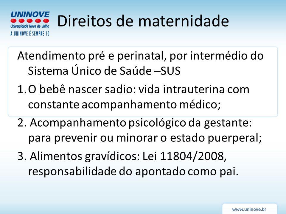 Atendimento pré e perinatal, por intermédio do Sistema Único de Saúde –SUS 1.O bebê nascer sadio: vida intrauterina com constante acompanhamento médic