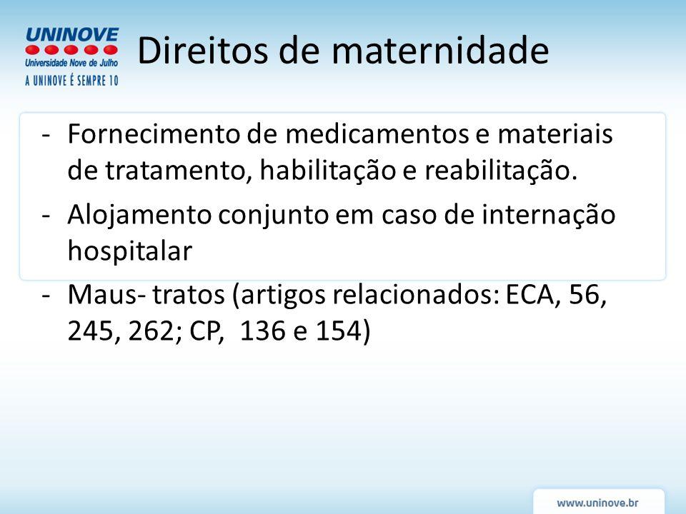-Fornecimento de medicamentos e materiais de tratamento, habilitação e reabilitação. -Alojamento conjunto em caso de internação hospitalar -Maus- trat