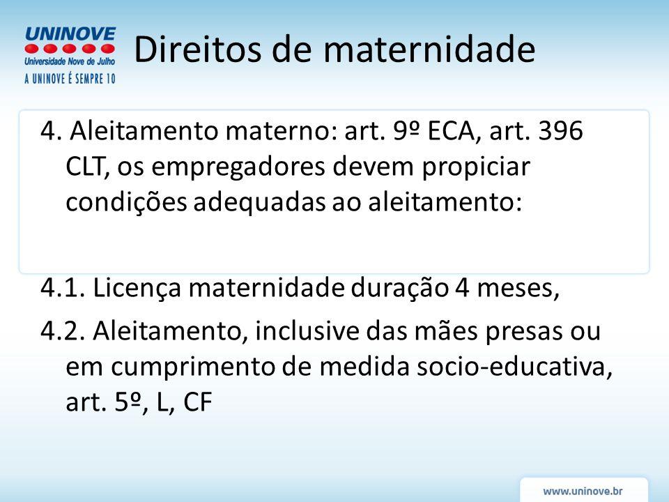 4. Aleitamento materno: art. 9º ECA, art. 396 CLT, os empregadores devem propiciar condições adequadas ao aleitamento: 4.1. Licença maternidade duraçã