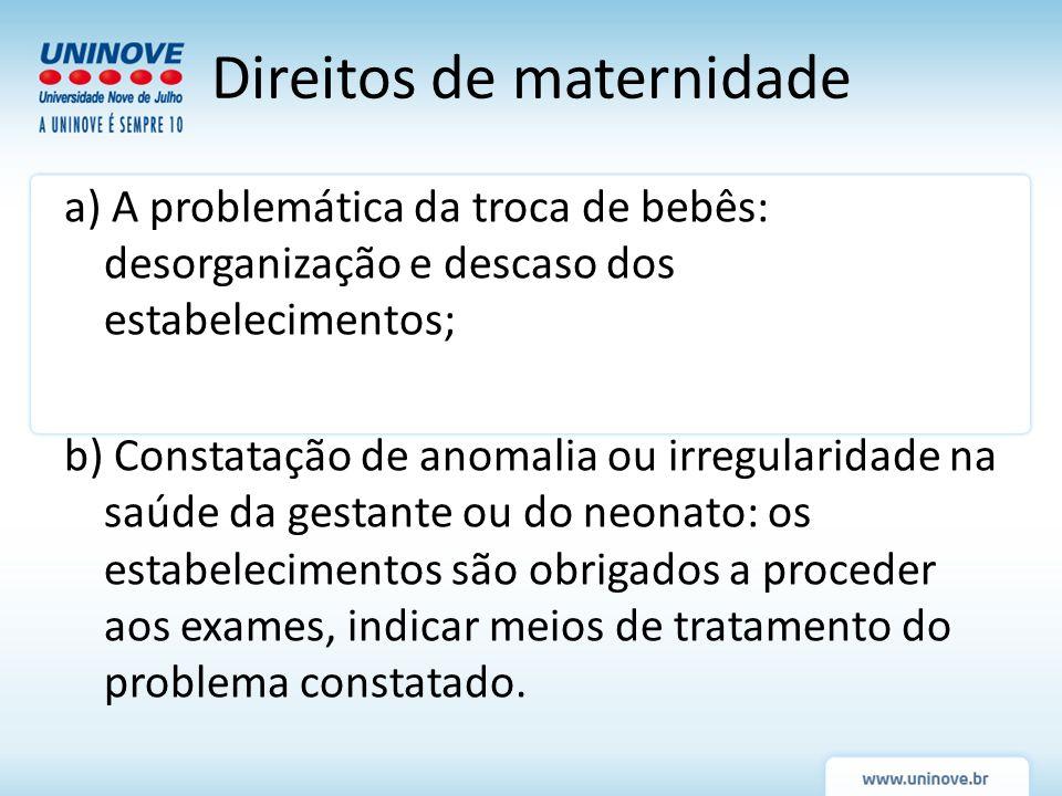a) A problemática da troca de bebês: desorganização e descaso dos estabelecimentos; b) Constatação de anomalia ou irregularidade na saúde da gestante
