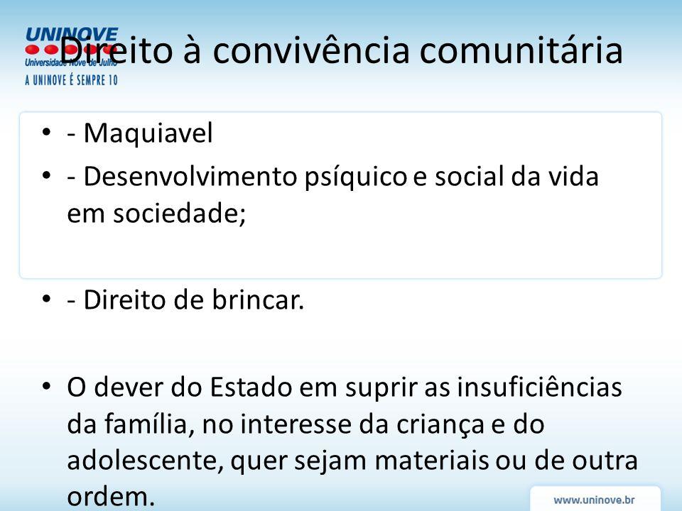 - Maquiavel - Desenvolvimento psíquico e social da vida em sociedade; - Direito de brincar. O dever do Estado em suprir as insuficiências da família,